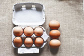 Chicken eggs in carton box — Stock Photo