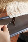 Weaving on handloom — Stock Photo