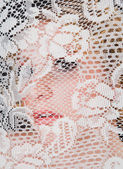 Beautiful Woman's Face Behind Lace — Stock Photo