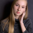 Stock Photo: Pretty Blond Teen in Sparkly Top