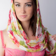 Woman in Bustier and Headscarf — Stock Photo