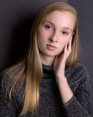 Pretty Blond Teen in Sparkly Top — Stock Photo