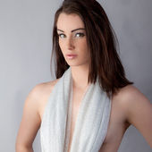 Pretty Woman With Sparkly Scarf Covering Bare Chest — Stock Photo