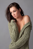 Gorgeous Woman in Open Sweater — Stock Photo