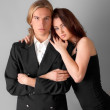 Attractive Young Couple Dressed Up — Stock Photo