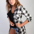 Pretty Teen in Flannel Shirt and Jean Shorts — Stock Photo