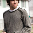 Attractive Man Outside in Sweater — Stock Photo
