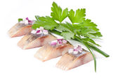 Salt fillet herring — Stock Photo