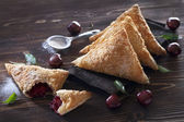 Puff Pastry Cherry Turnovers — Stock Photo