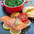 Salmon Fillet Spinach — Stock Photo