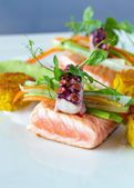 Octopus and Pink Salmon — Stock Photo