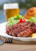 Kebab and Beer — Stock Photo