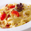 Tagliatelle Carbonara — Stock Photo
