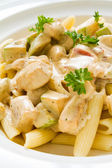Penne Chicken Alfredo — Stock Photo