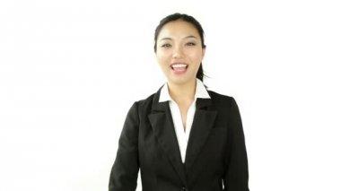 Businesswoman with binoculars — Stock Video
