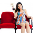 Attractive asian girl posing in studio — Stock Photo