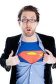 Attractive caucasian man dressed as Superman — Stock Photo
