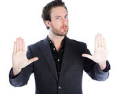 Man show to calm down — Stock Photo