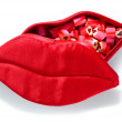 Red lips box isolated — Stock Photo