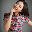 Portrait of sexy asian cowgirl kinky — Stock Photo