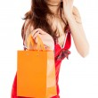 Sexy asian santa claus astonished for shopping — Stock Photo #33614945