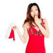 Sexy asian santa claus worried and surprised — Stock Photo