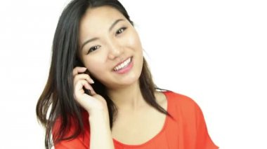 Attractive asian girl with cell phone — Stock Video