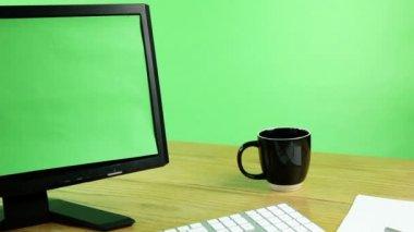Computer, keyboard, coffee — Stock Video
