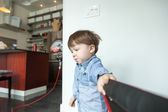 Boy pulling a rope — Stock Photo