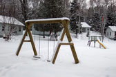 Playground with snow — Stock Photo