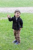 Boy with raised hand — Stock fotografie