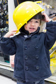Boy in protective helmet — Stockfoto
