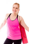 Woman with arm outstretched — Stock Photo