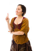 Woman pointing up — Stock Photo