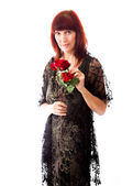 Woman holding rose — Stock Photo