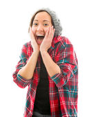 Woman looking surprised — Stock Photo
