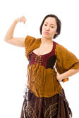 Woman showing off her muscle — Stock Photo
