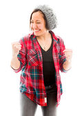 Woman punching the air — Stock Photo