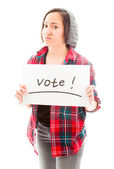 Woman showing vote sign — Stock Photo