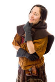 Woman with hand on chin — Stock Photo