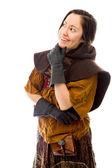 Kvinna med hand på hakan — Stockfoto