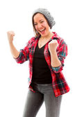 Woman celebrating success — Stock Photo