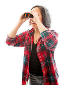 Frau suchen durch ferngläser — Stockfoto