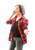 Woman talking on mobile phone — Stock Photo