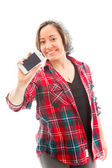 Woman showing a smart phone — Stock Photo