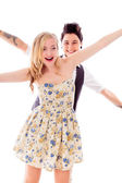 Couple with arm outstretched — Stock Photo