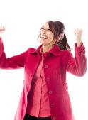 Kvinna firar framgångar — Stockfoto