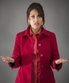 Woman with shocked expression — Stock Photo