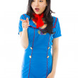 Air stewardess with pointing — Stock Photo