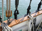 Rope and  hooks of boat — Stock fotografie